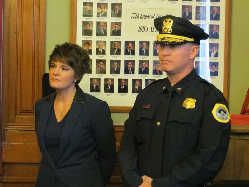 Pleasant Hill Mayor Sara Kurovski and Des Moines Police Chief Dana Wingert at a statehouse news conference