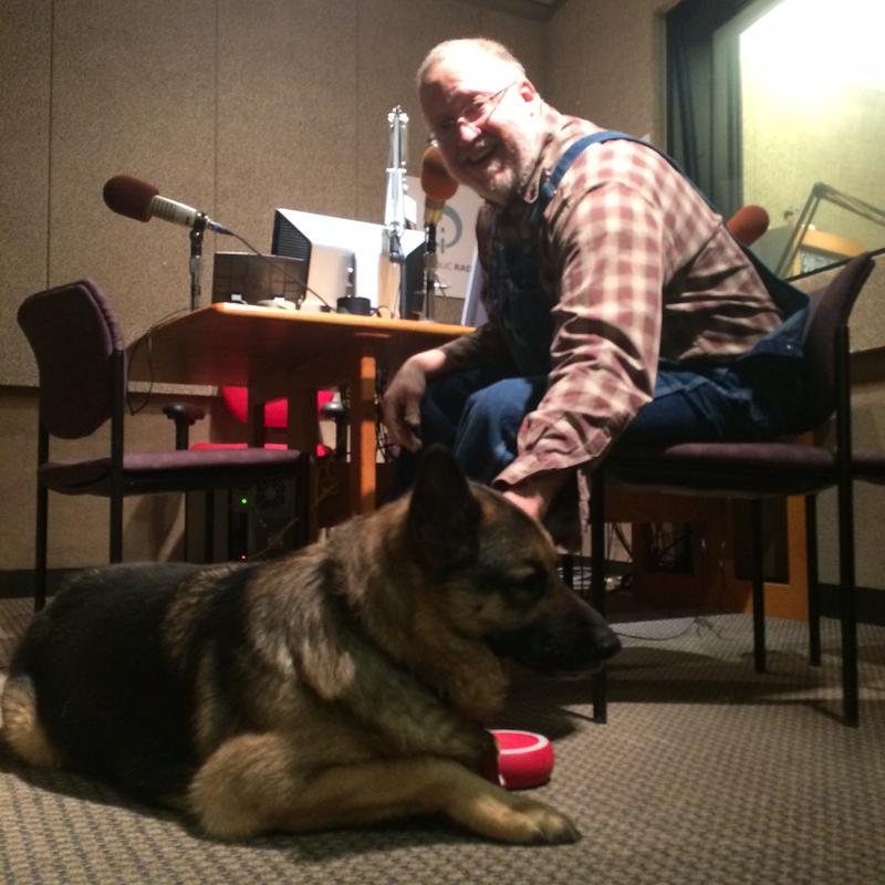 "Bill McAnally and his canine companion ""George"""