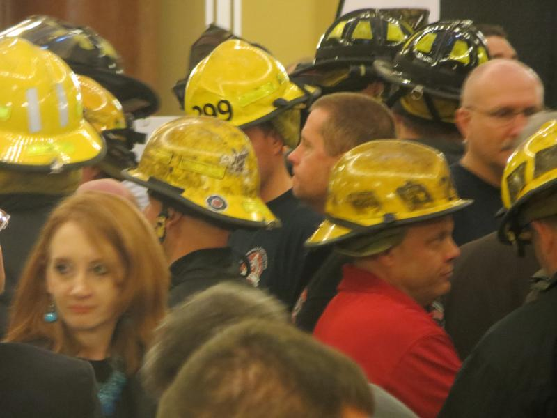 Firefighters lobbying against collective bargaining bill at Iowa State Capitol