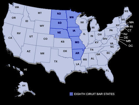 The highlighted states are those under the jurisdiction of the Eighth Circuit Court of Appeals.
