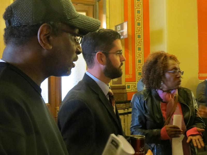 Rep. Matt Windschitl (R-Missouri Valley) with opponents of a comprehensive gun rights bill