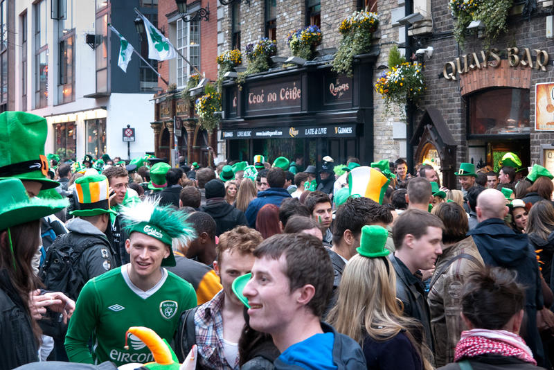 The street party in Temple Bar after Dublin's St. Patrick's day parade in 2011