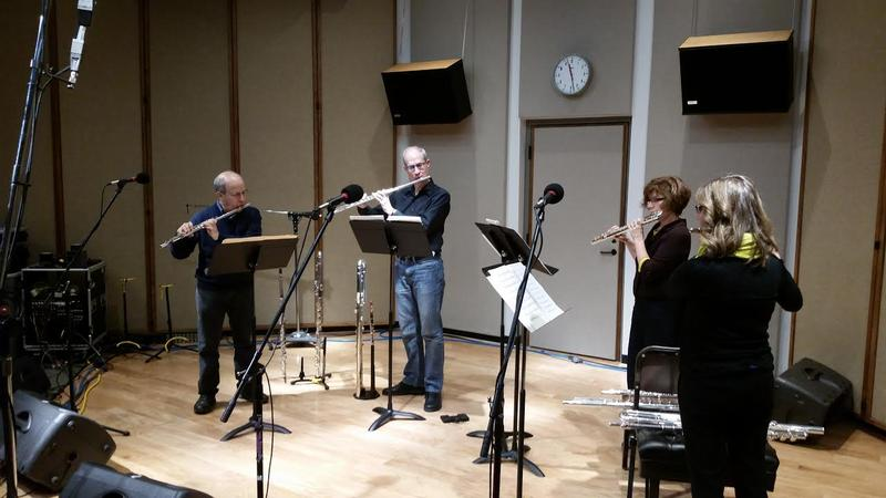 The IWO Flute Quartet performing living in IPR's Studio One