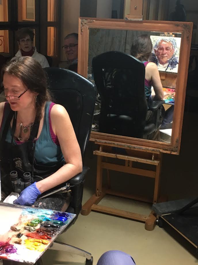 Iowa Artist Rose Frantzen painting Larry Ebbers in Reiman Gallery, Christian Petersen Art Museum