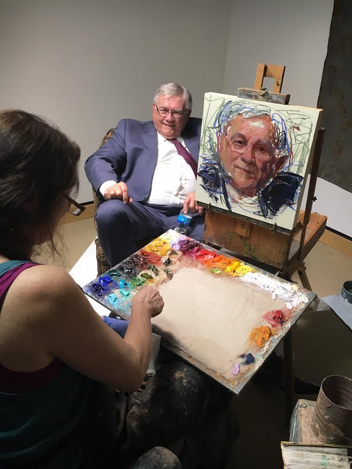 Iowa Artist Rose Frantzen painting Larry Ebbers in Reiman Gallery, Christian Petersen Art Museum