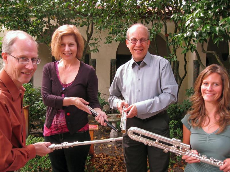 Sydney Carlson, Leonard Garrison, Jennifer Rhyne, and Paul Taub comprise the IWO Flute Quartet