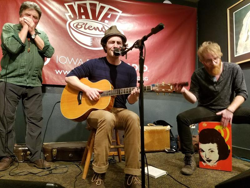 From Left: Iowa musicians Patrick Hazell, Ryne Doughty, and Will Locker perform on IPR Studio One's Java Blend