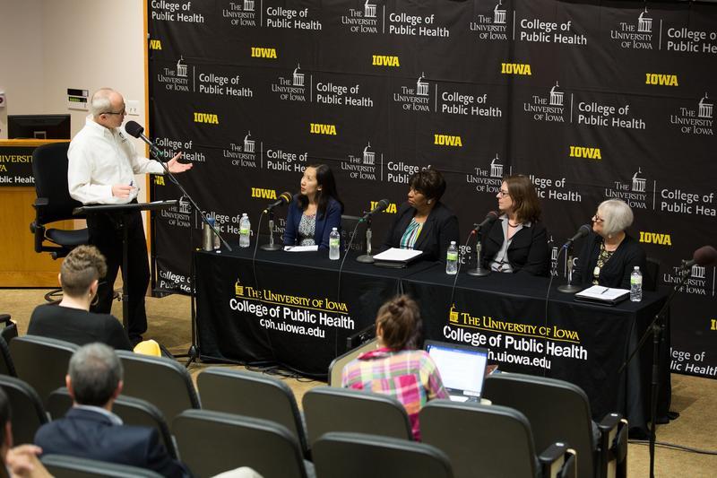 Host Ben Kieffer moderates a panel discussion with Dr. Leana Wen, Carletta Knox Seymour, Corinne Peek-Asa and Binnie LeHew.