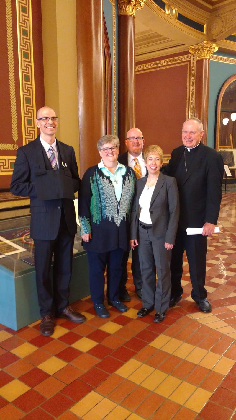 Right to left: Eric Daishin McCabe of Zen Fields, Rev. Dr. Beverlee Bell of Walnut Hills United Methodist Church, Rev. Dr. Matt Mardis-LeCory of Plymouth Church, Rev. Susan Hendershot Guy of Iowa IPL, and Bishop Richard Pates.