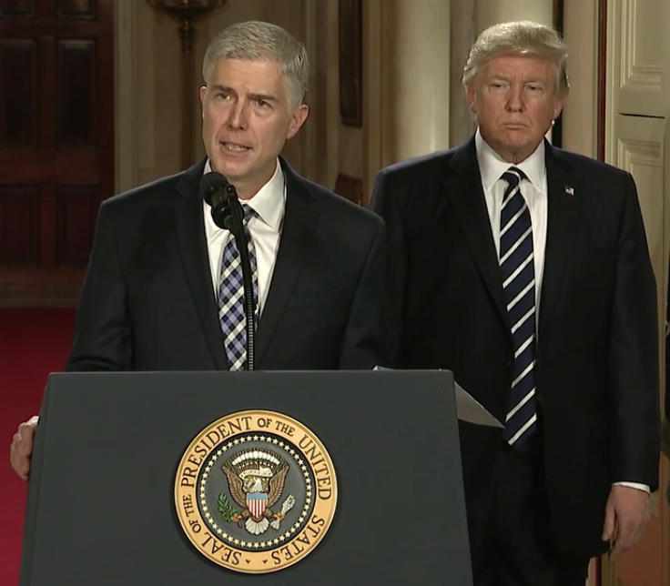 Judge Neil Gorsuch, nominee for Associate Justice to the U.S. Supreme Court, and President Donald Trump, via the official White House YouTube page.