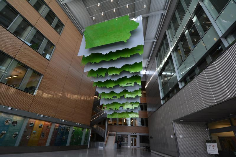 """Floating World"" by artist Ralph Helmick, at the Biorenewables Complex at Iowa State University"