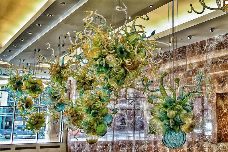 "Dale Chihuly's sculpture ""Glass Chandeliers"" on display at the Mayo Clinic in Rochester, Minnesota"