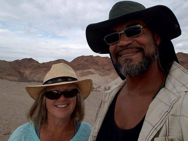 Debby and Bill Marine of Lake City, Iowa, hiking the California desert this March.