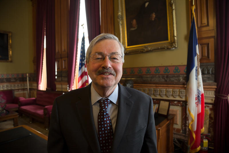 Governor Terry Branstad in his formal office at the Iowa Capitol in January 2017.