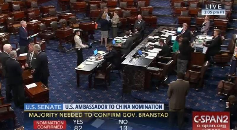 U.S. Senate votes to confirm Terry Branstad as U.S. ambassador to China.