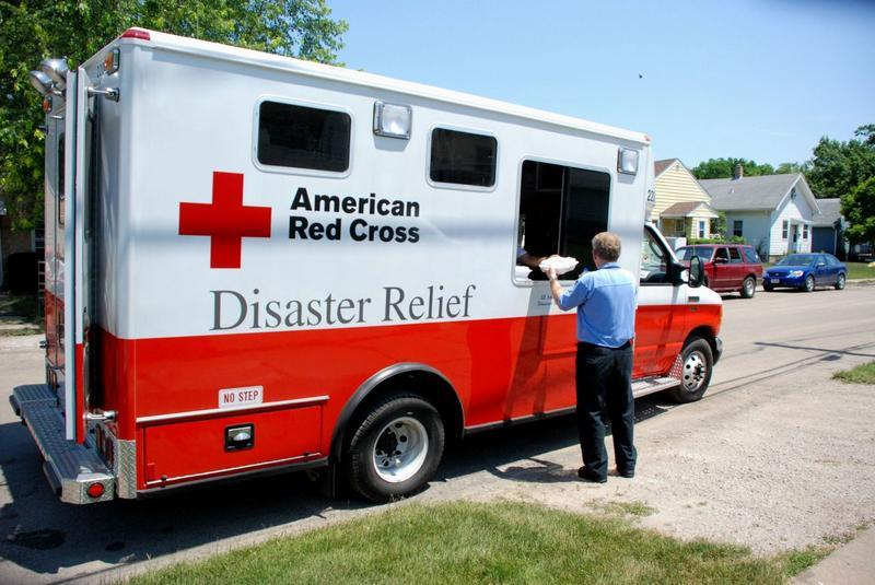 An American Red Cross truck in Cedar Rapids during the 2008 flood.
