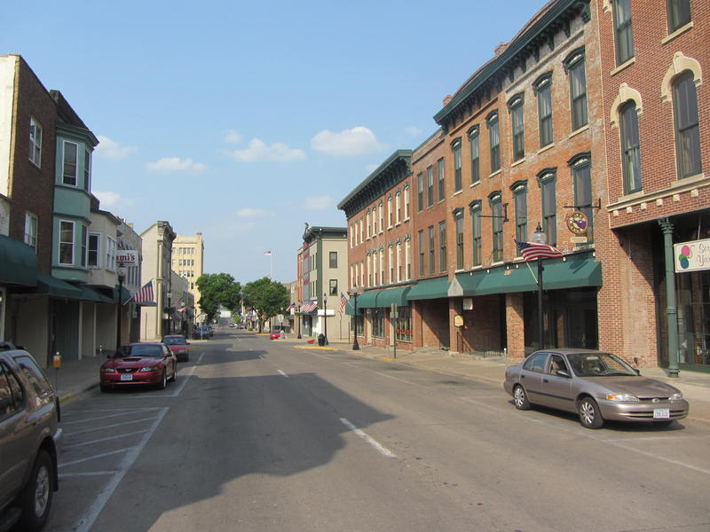 Downtown Muscatine, Iowa.
