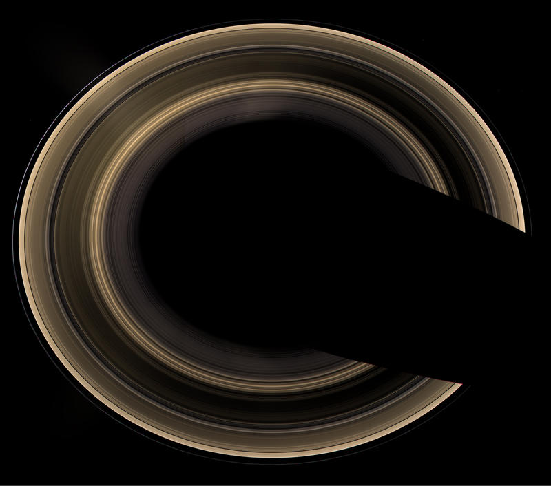 Flying one million miles above Saturn, the rings are seen from an elevation of 60 degrees by Cassini. The image of Saturn has been deliberately digitally removed to show off the rings. Composited from 27 images shot in 45 minutes on 1/21/2007.