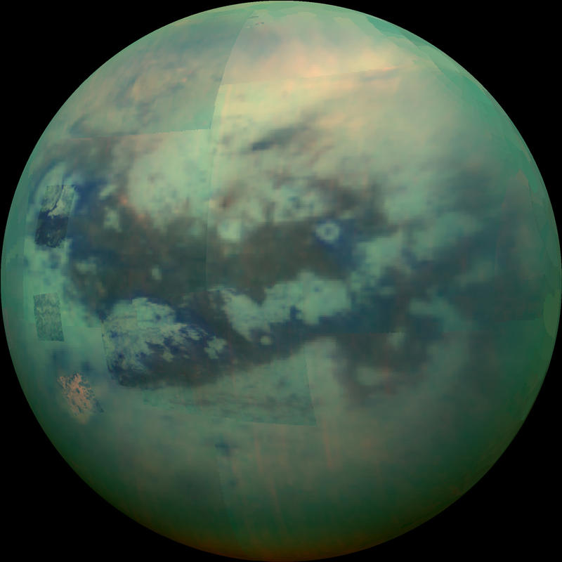 "Multiple 11/13/2015 images of Saturn's moon Titan using infrared filters. It has a nitrogen atmosphere with lakes of methane and ethane. Visible are dark dune-filled regions named Fensal and Aztlan that look like the letter ""H."""