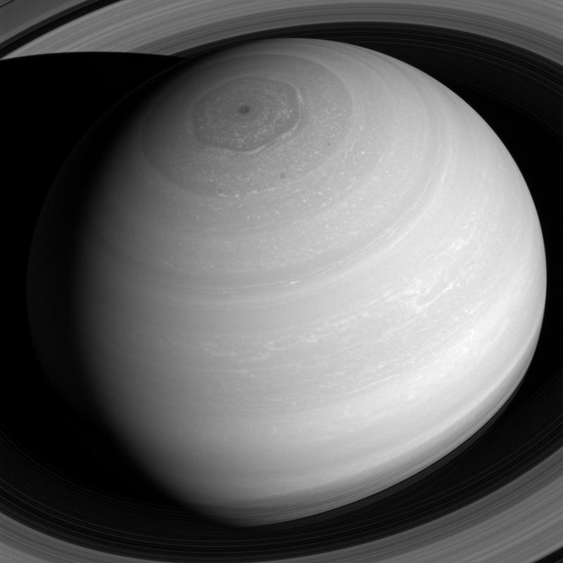 The hexagon at the north pole of Saturn is a 20,000 mile wide storm.  Scientists know it is at least three decades old and speculate that is has been raging for as long as a century. This image captured 7/16/2016 by Cassini.