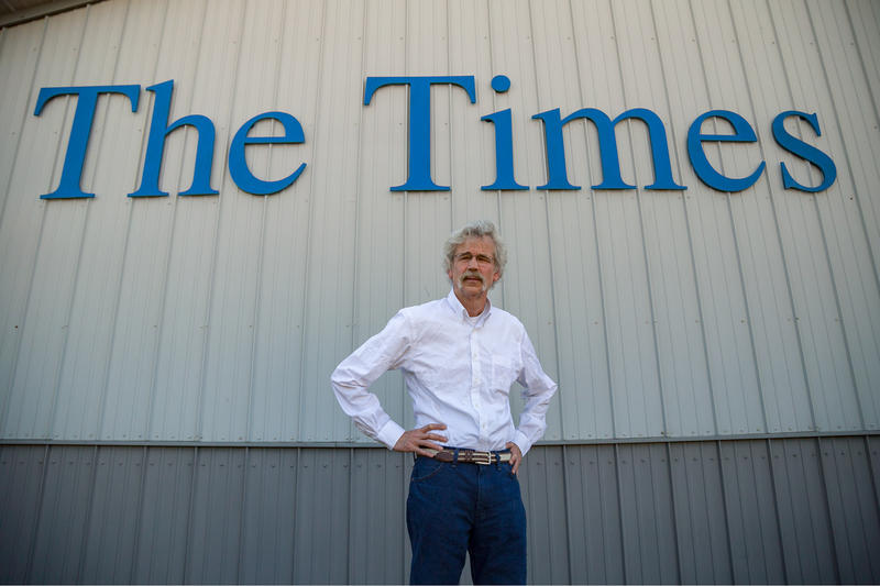 Storm Lake Times Editor Art Cullen stands outside his newspaper he started with his brother in 1990. The newspaper won a Pulitzer Prize this year for its editorial writing.
