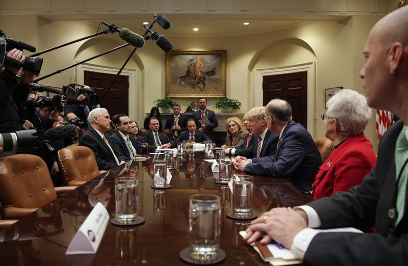 President Trump talking with lawmakers about replacing the ACA at the White House, March 2017.