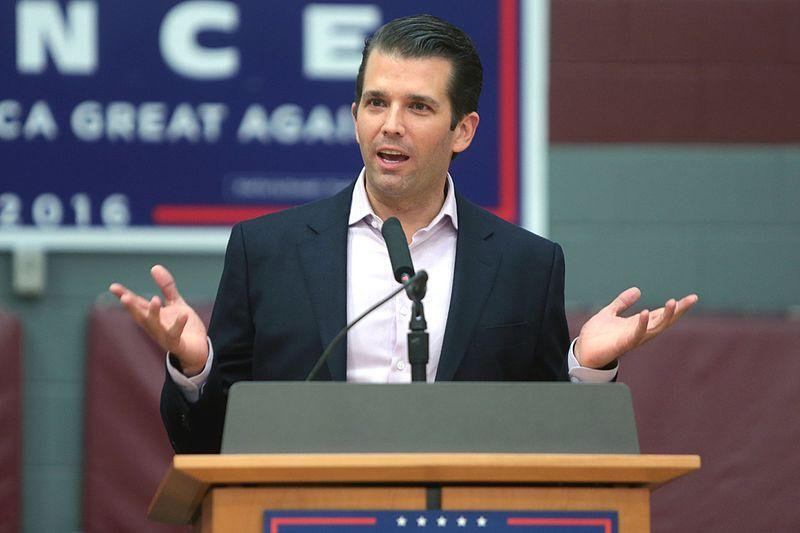 Donald Trump, Jr. speaking with supporters of his father, Donald Trump, at a campaign rally at the Sun Devil Fitness Center at Arizona State University in Tempe, Arizona.