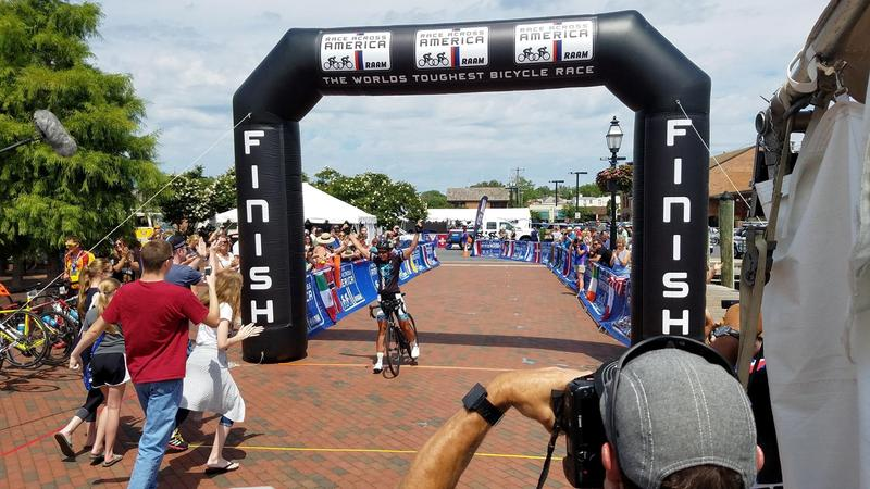 Sarah Cooper crossing the finish line at Race Across America.