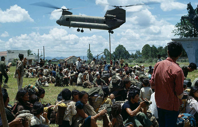 Vietnam War 1972 - Central Highlands - Siege of Kontum - Montagnard refugees and United States helicopter evacuation