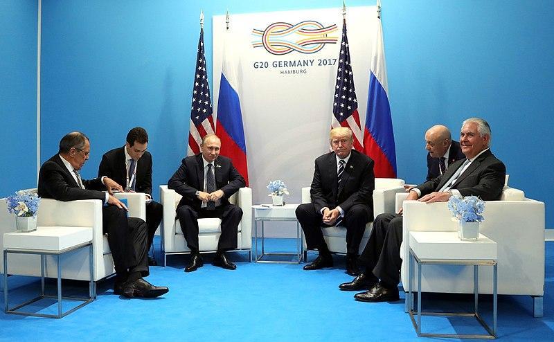 Vladimir Putin and Donald Trump meet at the 2017 G-20 Hamburg Summit.