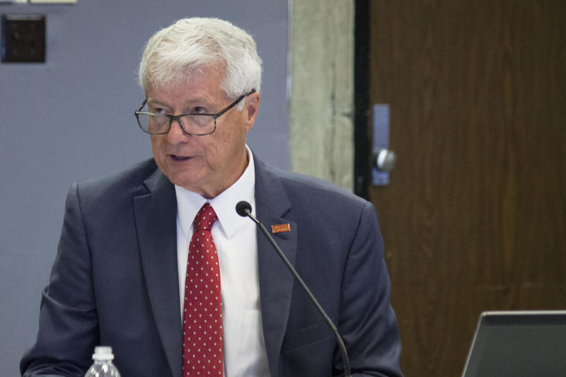 ISU Interim President Ben Allen presents his five year tuition plan to a Board of Regents task force in Ames.