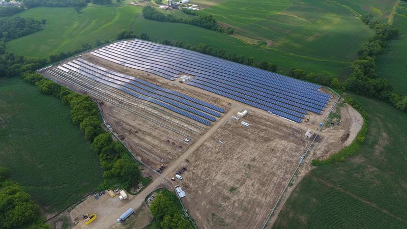Aerial view of Alliant Energy Solar Power Farm in Dubuque