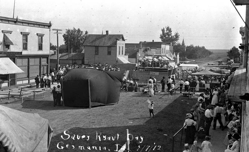 Crowds celebrated Sauerkraut Day in 1912 in Germania, Iowa. Anti-German sentiment during WWI prompted locals to change the town's name to Lakota. This photo is part of a new online collection of primary source documents about Iowa history.