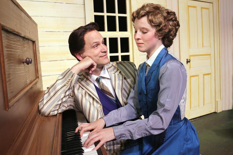 Brad Church and Katy Merriman are Harold Hill and Marian Peroo in the Des Moines Community Playhouse production of The Music Man