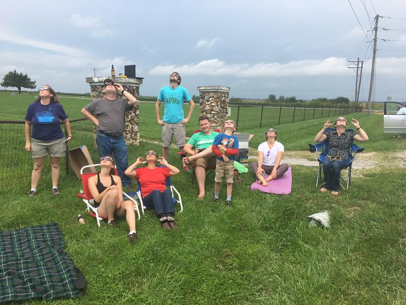 Group of Iowans in Missouri wathcing the eclipse