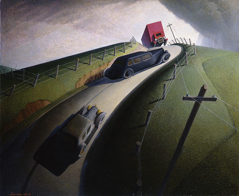 Grant Wood. Death on the Ridge Road, 1935. Oil on Masonite