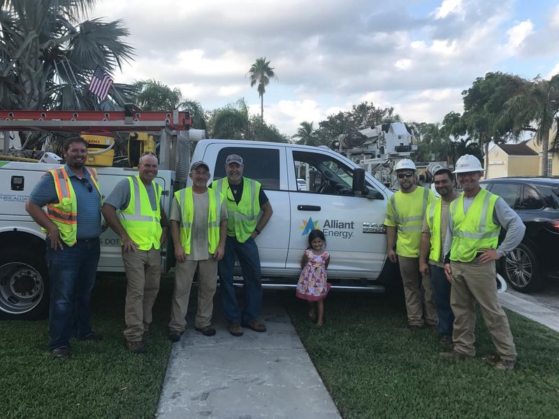 Some of the 200 Alliant Energy workers helping restore power in Florida and Georgia.