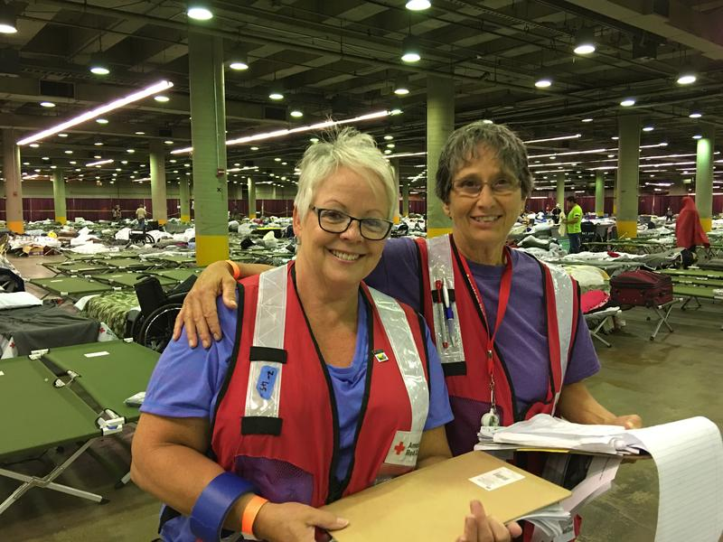 Brenda Kamish of Moravia (left) inside a Red Cross shelter in Dallas.