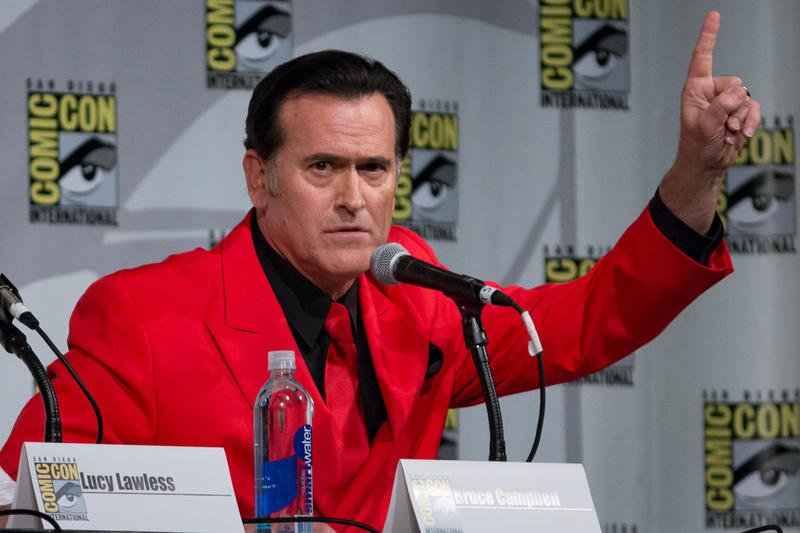 Bruce Campbell talking about Ash Vs. Evil Dead during a San Diego Comic Con Panel in July 2015