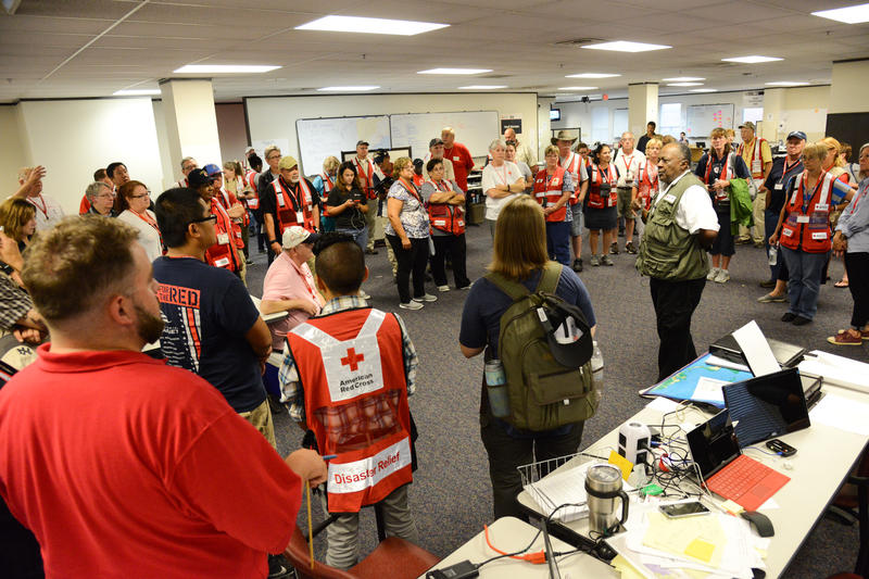 Red Cross volunteers assemble in Texas.