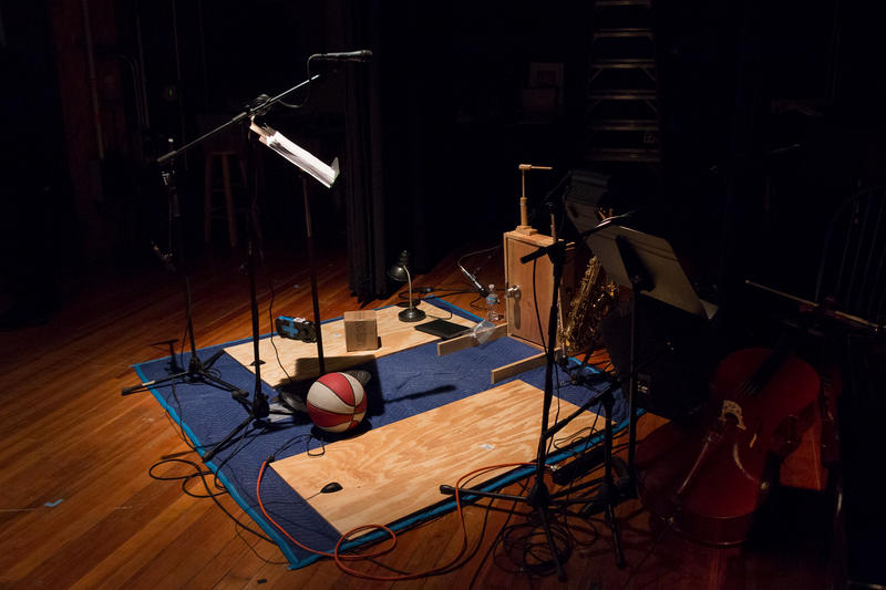 Some of the foley objects to create live sound effects during a rehearsal for Pang! at CSPS Hall in Cedar Rapids, Iowa.
