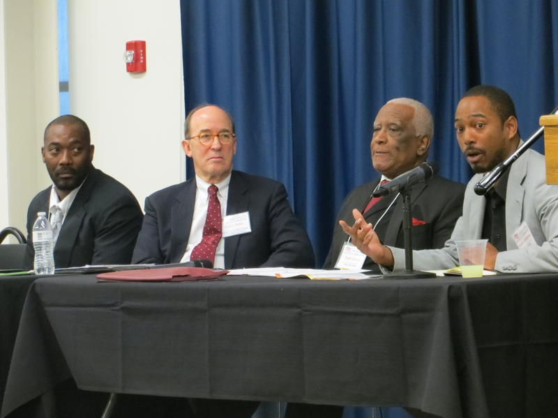 L-R:  Evelyn K. Davis Re-entry Specialist Joe Harrison; NAACP Legal Redress Co-Chair David Walker; Dwight Jackson, Evelyn K. Davis Center; and Iowa Civil Rights Commissioner Kameron Middlebrooks
