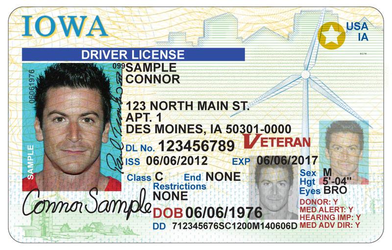 Sample Iowa Drivers License