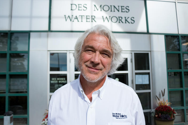 Bill Stowe, General Manager Des Moines Water Works, stands outside the main entrance at the utility's headquarters on October 20, 2017.