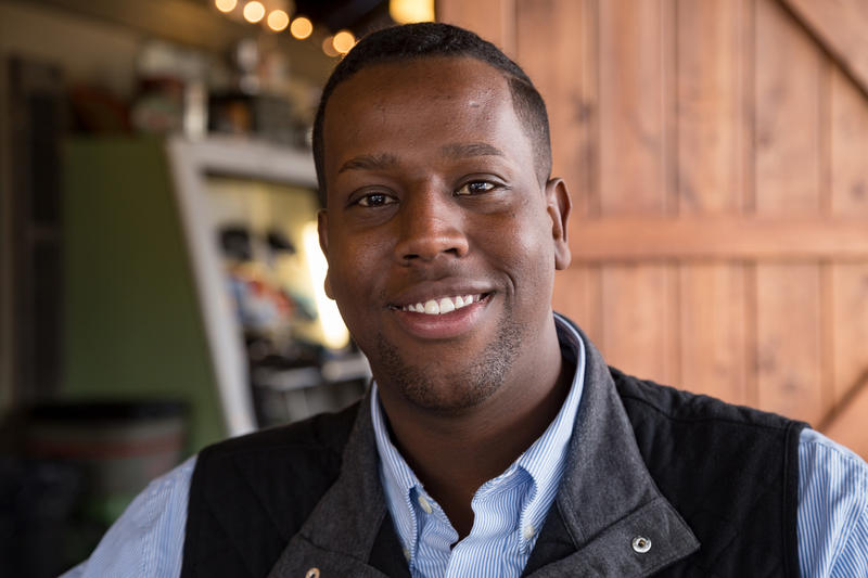 Abshir Omar, a Somali Refugee, works on his campaign for Des Moines City Council Ward 3 at Smokey Row Coffee in Des Moines on October 24, 2017.
