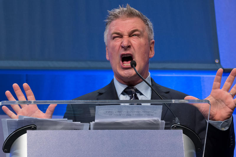 Actor Alec Baldwin speaks at the Iowa Democratic Party's Annual Fall Gala
