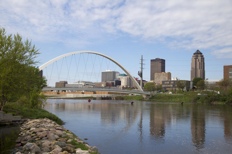 The Des Moines River in Des Moines, Iowa.