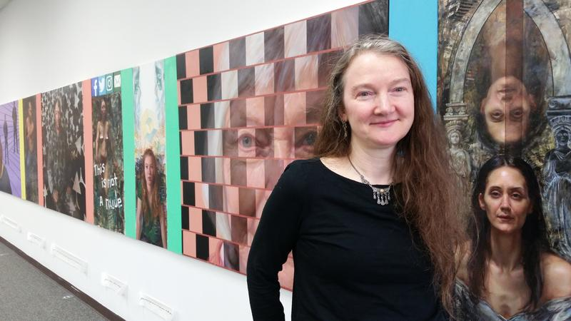 Rose Frantzen before her new exhibit, In the Face of Illusion