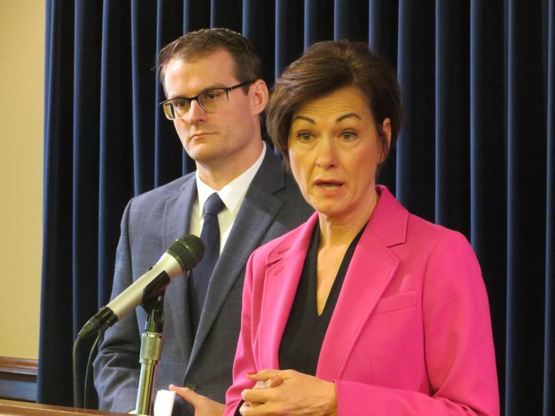 Gov. Kim Reynolds with acting Lt. Gov. Adam Gregg