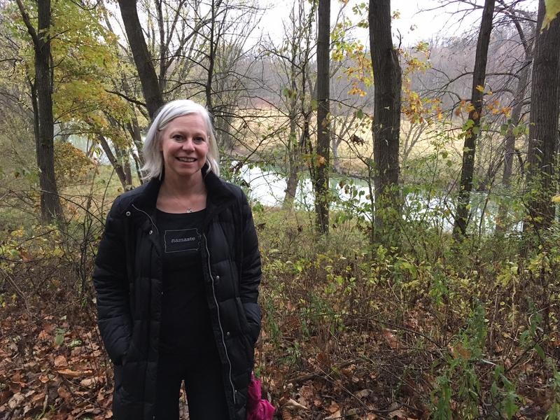 Author Heather Gudenkauf hiking at the Mines of Spain in Dubuque